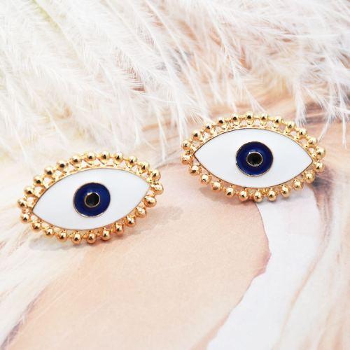 E-5490 Enamel Evil Eye Stud Earrings Fashion Earrings Jewelry