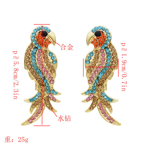 E-5493 full crystal parrot bird drop earrings 2019 new design good quality fashion women statement for women wholesale