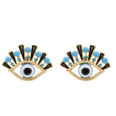 E-5494 New Evil Eye Earrings Blue Rhinestone Stud Earring Gold Metal Fashion Women Earring Party Jewelry