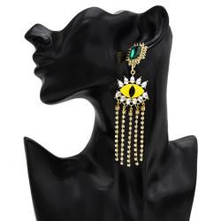 E-5497 Evil Eye Earrings Blue Rhinestone Dangle Tassel Shining Drop Earrings Women Earring Party Jewelry