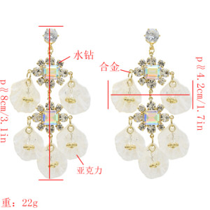 E-5499  Dangle Petal Acrylic Earrings Fashion Bohemian Resin Crystal Flower Earrings 925 Silver Needle Crystal Earrings