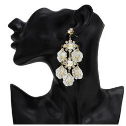 E-5499  Dangle Petal Acrylic Earrings Fashion Bohemian Resin Crystal Flower Earrings 925 Silver Needle Crystal Earrings