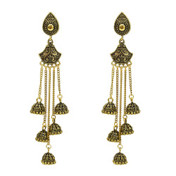 E-5501 Boho Style Women Indian Jhumka Earrings 2019 Gold Sliver Metal flower  Big Bells Dangle Long Tassel Earring Ladies Gypsy Jewelry