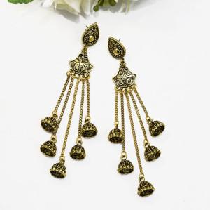 E-5501 Boho Style Women Indian Jhumka Earrings 2019 Gold Sliver Metal flower  Big Bells Dangle Long Tassel Earring Ladies Gypsy Jewelry