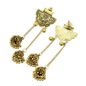 E-5502 Indian Earrings Golden Chandelier Shaped Pendant Earrings Long Tassel Gypsy Earrings