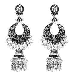 E-5503 Indian Jhumka Earrings Vintage Silver Gold Metal Bells Drop Earrings Gypsy Party Long Tassel Earring