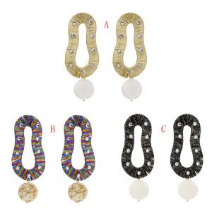 E-5504 Long oval  Earrings Vintage Geometric Statement Earrings colorful Drop Rhinestone Big Earrings for Women Jewelry