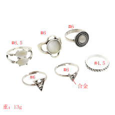 R-1516 New fashion Silver Plated Rings Rhinestone Beads Midi Finger Ring Sets  Ethnic Women Girls Gift Rings