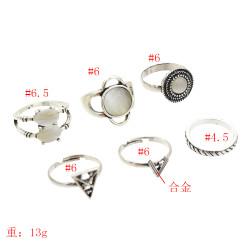 R-1516 New fashion Silver Plated Rings Rhinestone Beads Midi Finger Ring Sets  Ethnic Women Girls Gift Rings