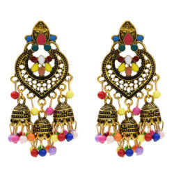 E-5505 Vintage Indian Drop Earrings for Women Gold Silver Metal Resin Beaded Tassel Earrings Gypsy Triabl Fashion Jewelry