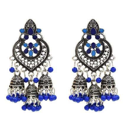 E-5505 Vintage Indian Drop Earrings for Women Gold Silver Metal Resin Beaded Tassel Earrings Gypsy Triabl Fashion Jewelry