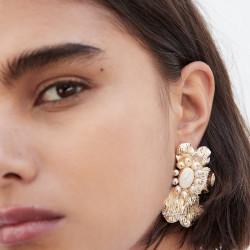 E-5483 Golden Flower Shape Pearl Earrings Fashion Atmosphere Lady Earrings