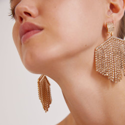 E-5409  4 Colors Big Women Rhinestone Beaded Statement Drop Earrings for Bridal Wedding Party Jewelry