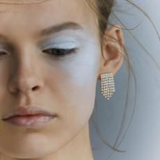 E-5437 Korean exquisite acrylic tassel earrings 4 color fashion shiny party stud