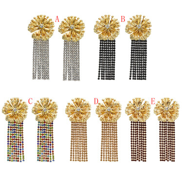E-5512 Fashion Gold Metal Flower Earrings Women Rhinestone Long Tassel Drop Earrings Wedding Party Jewelry