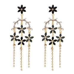 E-5511 Golden Rhinestone Small Flower Shaped Tassel Earring for Woman