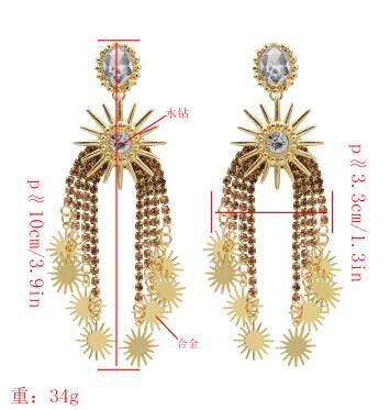 E-5519 4 Colors Elegant Sunflower Drop Earrings Big Crystal Long Tassel Earring Women Bridal Wedding Party Jewelry
