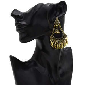 E-5518 Vintage Gold Triangle Bell Tassel Earrings Party Earrings