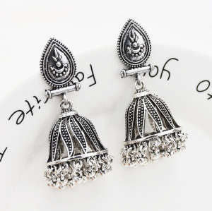 E-5521 Gypsy Afghan Jewelry Antique Silver Card Small Bell Bead Drop Fringe Retro Earring Woman Bohemia Gift