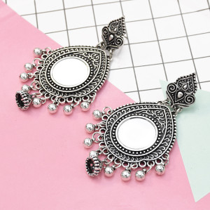 E-5523 Gypsy Afghan Earring  Silver Card Small Mirror Drop Fringe Retro Earring Woman Bohemia Gift