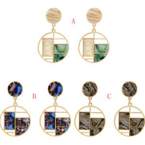 E-5525 Fashion Geometric Acrylic Earrings for Women Boho Round Gold Metal Drop Earring Wedding Party Gift