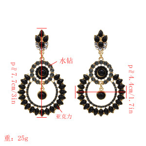 E-5528 classic round hollow alloy diamond earrings retro palace style luxury full diamond earrings