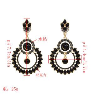 E-5528 classic round hollow alloy diamond earrings retro palace style luxury full diamond earrings