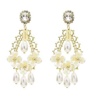 E-5526 Drop Dangle Earring Fashion Waterdrop Pearl Rhinestone Earrings S925 Stud for Woman Party Jewelry