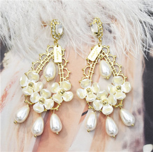 E-5526 Drop Dangle Earring Fashion Waterdrop Pearl Rhinestone Earrings S925 Stud for Woman Party Jewelry