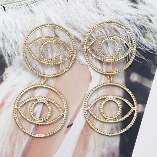 E-5527 Europe and America exaggerated big earrings gold-plated eyes Halloween funny earrings
