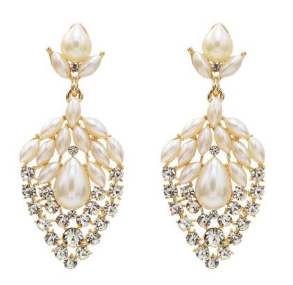 E-5529 Elegant Flower Pearl Crystal Drop Earrings Bridal Gold Silver Metal Wedding Rhinestone Earring Party Jewelry