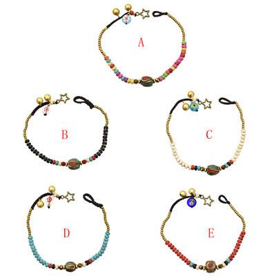 B-0994 Simple Bohemian Handmade Beaded Bell Bangle Bracelet for Women Party Bracelet