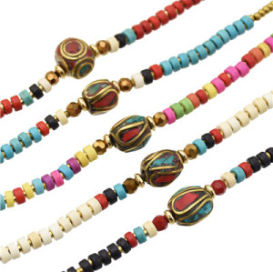 B-0994 Simple Bohemian Handmade Beaded Bell Bangle Bracelet for Women Party Bracelet