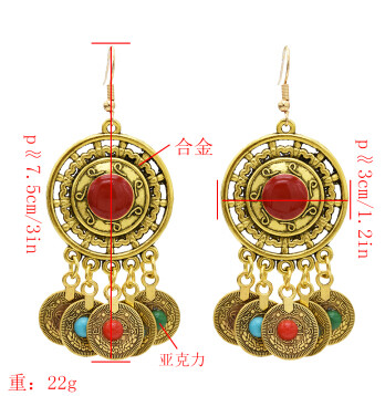 E-5533 Gypsy Vintage Silver Gold Metal Coin Earrings Colorful Acrylic Beaded Tassel Drop Earring Indian Party Jewelry