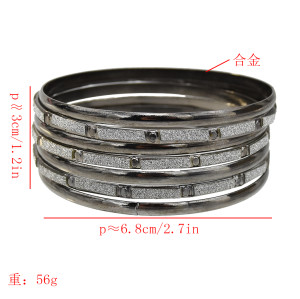 B-0995 7Pcs/Set Alloy ring bracelet punk shiny Bangle Bracelet nightclub black jewelry  For Women