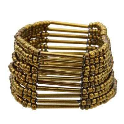 B-0996 Bohemian Multilayers Resin Beaded Strand Bracelet Women Charm Statement Elastic Bracelet Vintage Jewelry