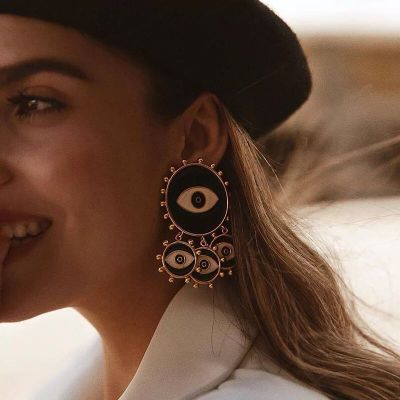E-5530 Vintage Ethnic Black Color Big Eyes Charm Stud Earrings for Women Fashion Jewelry Bohemian Collection Earrings Accessories