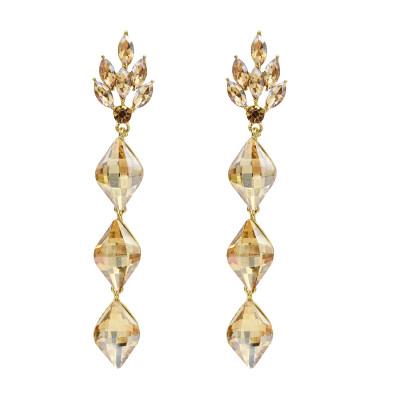 E-5536 Luxury Water Drop Long Earrings For Women Bricons Wedding Crystal Drop Big Earrings