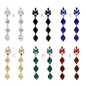 E-5536 Luxury Water Drop Long Earrings For Women Bricons Wedding Crystal Drop Big Earrings