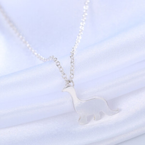 N-7314 Simple Dinosaur Necklace Silver Gold Metal Animal Pendant Necklaces Women Girl Party Jewelry