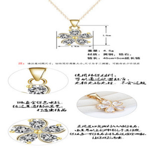 N-7312 Zircon Pendant Crystal Clavicle Chain Flower Shape Necklace for Woman