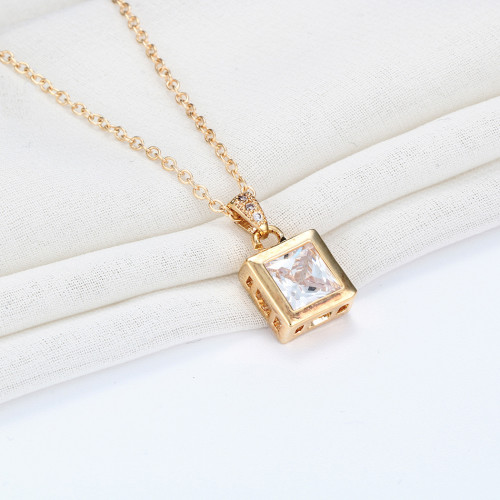 N-7313  new fashion Square single zircon necklace Female clavicle chain inlaid crystal new fashion