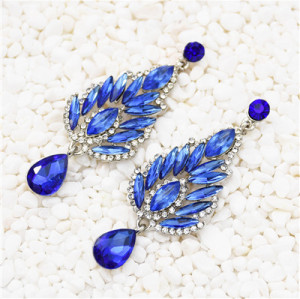 E-5538 Rhinestone Flower Earrings Drop Dangle Earring for Woman Fashion Accessoires
