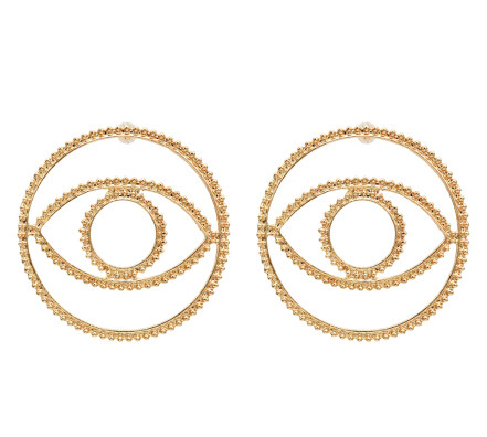 E-5540 Big Hollow Eye Stud Earrings For Women Girl Round Metal Gold Silver Color Earring Party Jewelry Gift