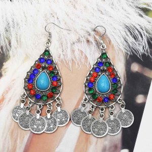 E-5541 Vintage Boho Jhumka Coin Tassel Oxidized Drop Dangle Indian Earrings For Women Wedding Jewelry