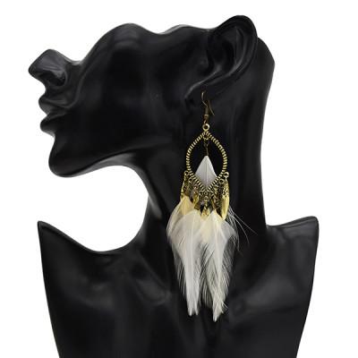 E-5542 5 Color Bohemian Vintage Alloy Earrings Feather Shaped Dangle Earrings