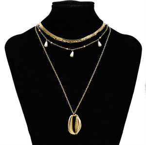 N-7318 Bohemian Shell Multi Layer Necklaces for Women Girl Fashion Gold Silver Color Pendant Necklace Collar Jewelry