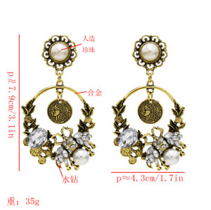 E-5543 Fashion Insect Shape Pearl Rhinestone Coin Round Drop Dangle Earring for Woman