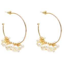 E-5544 Elegant Big Circle Hoop Earrings for Women Bridal Simulated Pearl Wedding Earring Party Jewelry