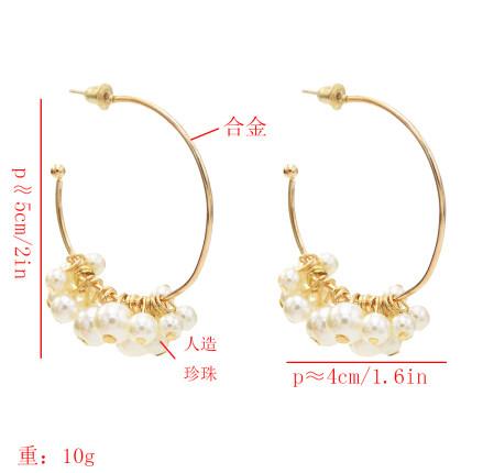 E-5544 Elegant Big Circle Hoop Earrings for Women Bridal Simulated Pearl Wedding Earring Party Jewelry